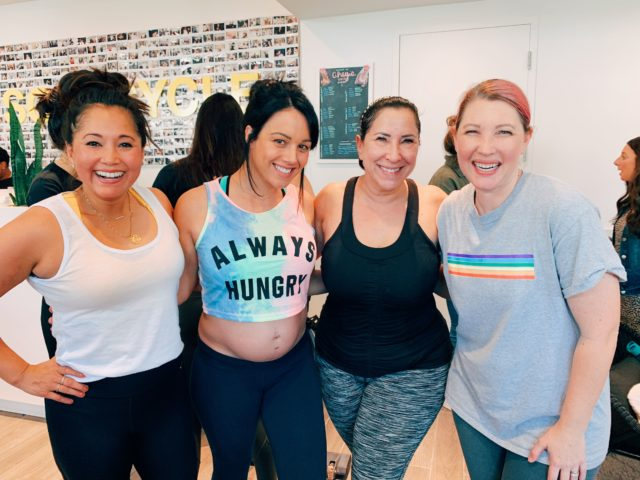 Friends taking a SoulCycle Class